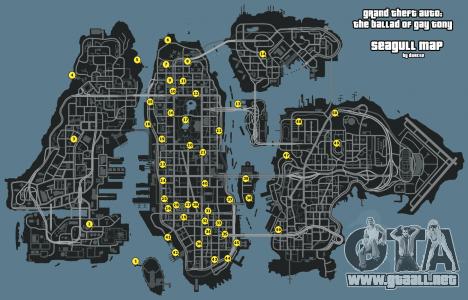Mapa de las Gaviotas GTA 4: la Balada de Gay Tony