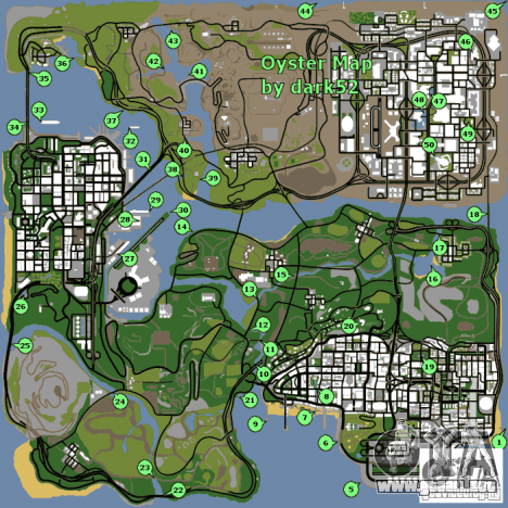 Mapa de conchas de GTA San Andreas