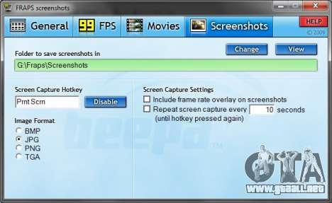 Fraps, tab: screenshots