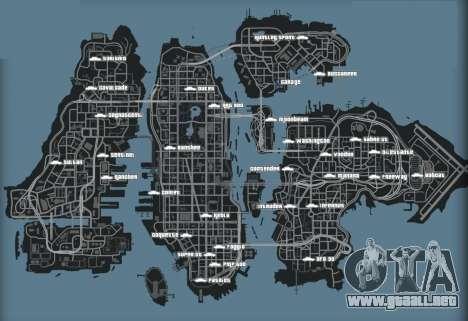 Mapa de vehículos en GTA 4