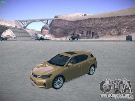 Lexus CT200H 2012 para GTA San Andreas vista posterior izquierda
