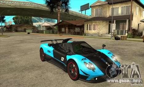 Pagani Zonda Cinque para GTA San Andreas vista hacia atrás