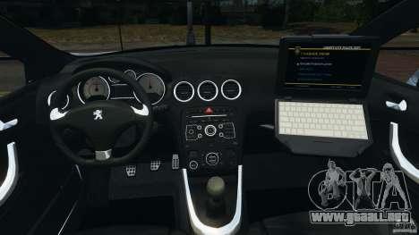 Peugeot 308 GTi 2011 Police v1.1 para GTA 4 vista hacia atrás