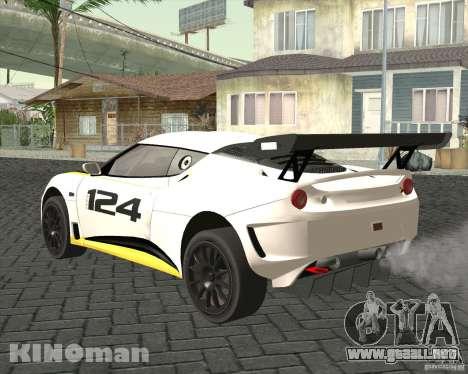 Lotus Evora Type 124 para GTA San Andreas left
