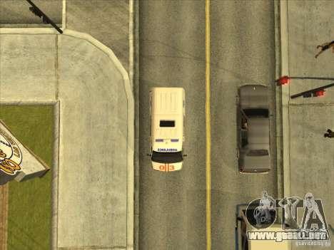 Ambulancia 22172 del GAS para GTA San Andreas vista hacia atrás