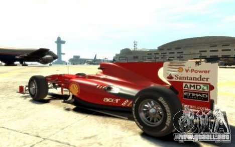 2010 Scuderia Ferrari F10 para GTA 4 left