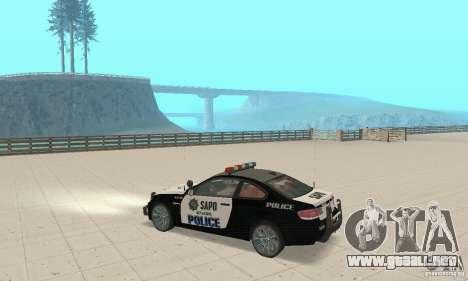 BMW M3 E92 Police para GTA San Andreas vista hacia atrás