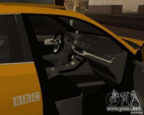 Lexus CT 200h 2011 Taxi para visión interna GTA San Andreas