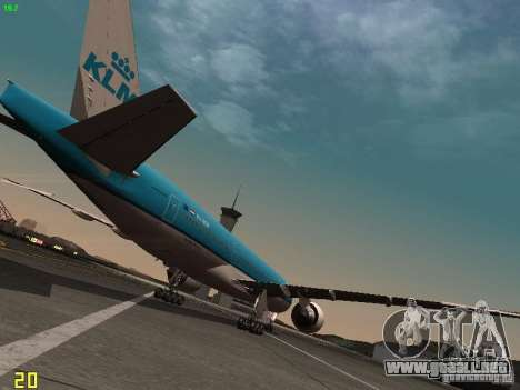 Boeing 777-200 KLM Royal Dutch Airlines para la visión correcta GTA San Andreas