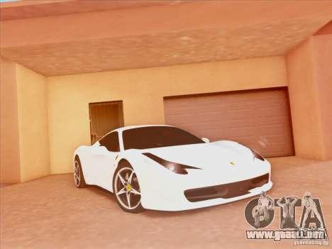 Ferrari 458 2010 para GTA San Andreas vista posterior izquierda
