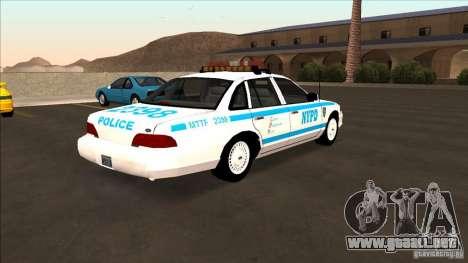 Ford Crown Victoria 1992 NYPD para GTA San Andreas vista posterior izquierda