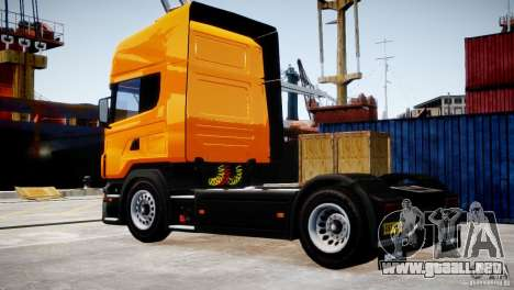 Scania R500 para GTA 4 Vista posterior izquierda