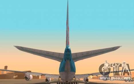 Boeing-747 Corsair Fly para GTA San Andreas vista hacia atrás