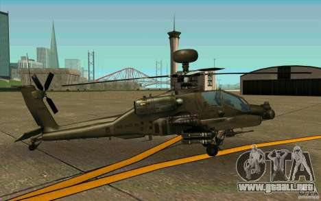 Apache AH64D Longbow para GTA San Andreas vista posterior izquierda