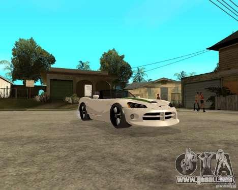 Dodge Viper SRT-10 para GTA San Andreas vista hacia atrás
