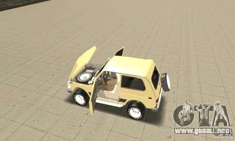 VAZ 21213 4 x 4 para GTA San Andreas vista hacia atrás