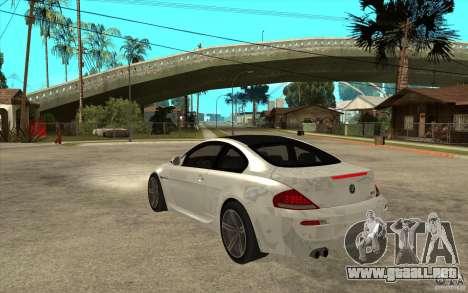 BMW M6 Coupe V 2010 para GTA San Andreas vista posterior izquierda