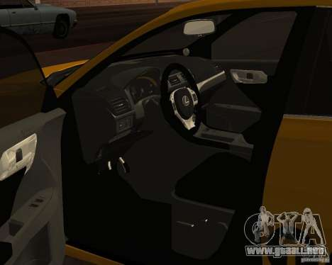 Lexus CT 200h 2011 Taxi para GTA San Andreas vista hacia atrás
