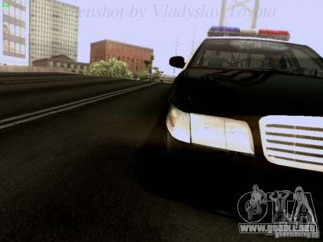 Ford Crown Victoria Los Angeles Police para GTA San Andreas vista hacia atrás