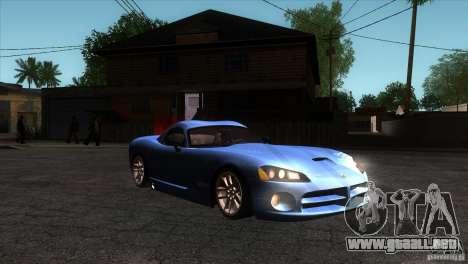 Dodge Viper SRT10 Stock para GTA San Andreas vista hacia atrás