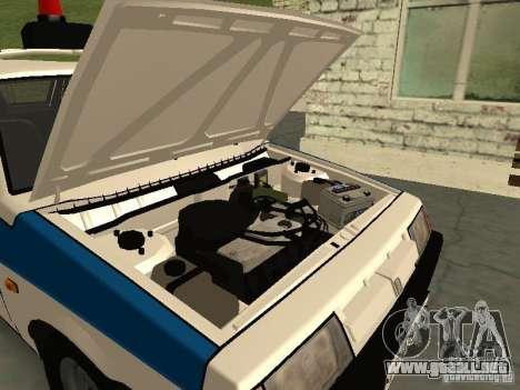 VAZ 2109 policía para GTA San Andreas vista hacia atrás