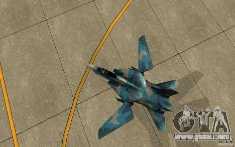 F-14 Tomcat Blue Camo Skin para GTA San Andreas vista hacia atrás
