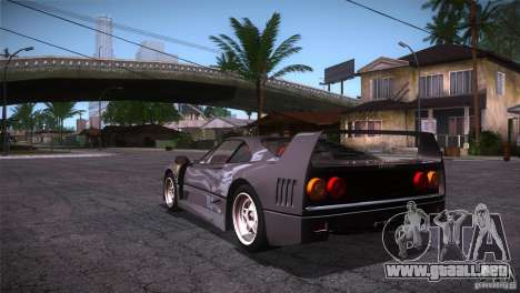 Ferrari F40 para GTA San Andreas vista posterior izquierda