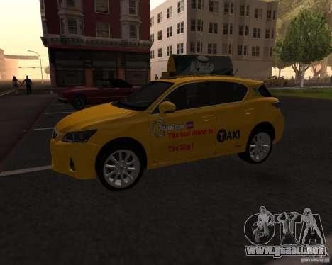 Lexus CT 200h 2011 Taxi para GTA San Andreas left