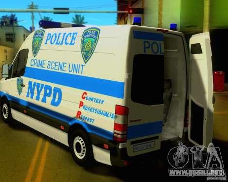 Mercedes Benz Sprinter NYPD police para GTA San Andreas vista hacia atrás