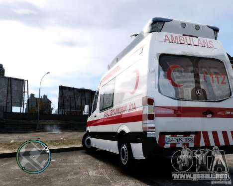 Mercedes Sprinter Turkish Ambulance para GTA 4 visión correcta