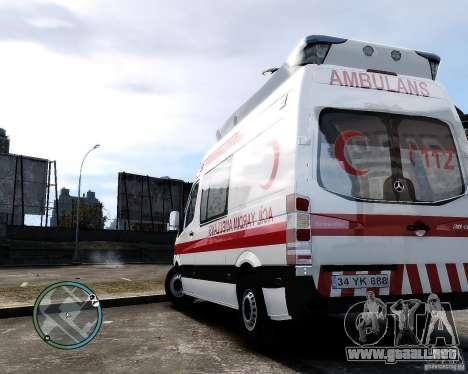 Mercedes Sprinter Turkish Ambulance para GTA 4 visión correcta