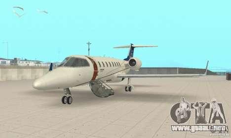 Bombardier Leardjet 45XR para GTA San Andreas left