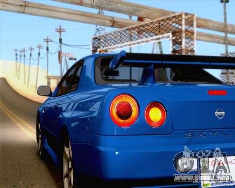 Nissan Skyline R34 para vista lateral GTA San Andreas