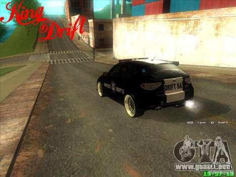 Subaru Impreza WRX Police para GTA San Andreas vista posterior izquierda