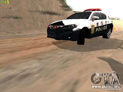 Lexus CT200H Japanese Police para GTA San Andreas left