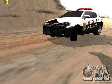 Lexus CT200H Japanese Police para GTA San Andreas left