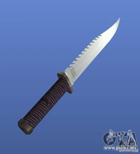 Cuchillo de Rambo sin firma para GTA 4 segundos de pantalla