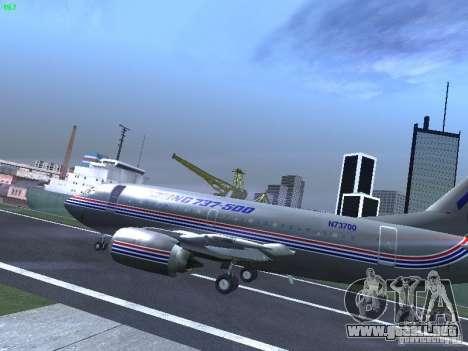 Boeing 737-500 para GTA San Andreas vista posterior izquierda