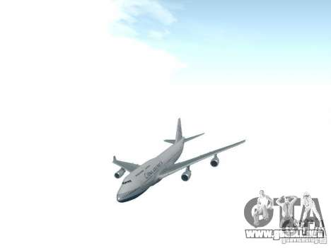 Boeing 747-400 China Airlines para GTA San Andreas vista hacia atrás