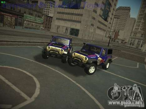 Jeep Wrangler Red Bull 2012 para GTA San Andreas vista posterior izquierda