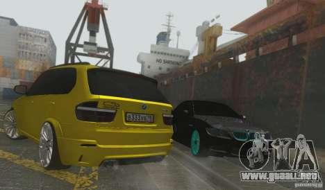 BMW X5M Gold Smotra v2.0 para GTA San Andreas vista hacia atrás