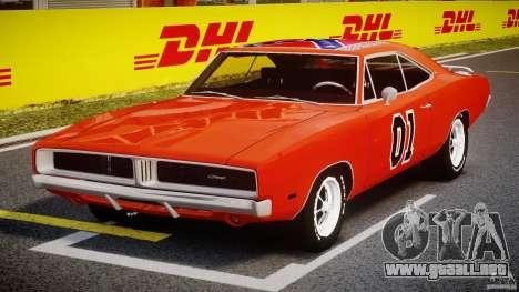 Dodge Charger General Lee 1969 para GTA 4 vista hacia atrás
