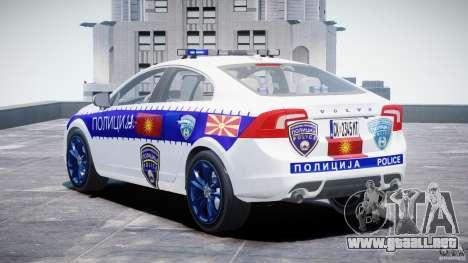 Volvo S60 Macedonian Police [ELS] para GTA 4 Vista posterior izquierda