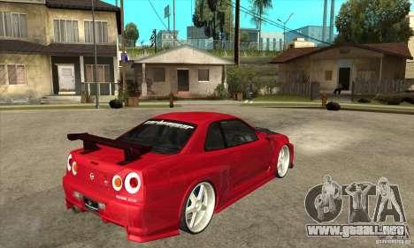 Nissan Skyline GTR-34 Carbon Tune para la visión correcta GTA San Andreas