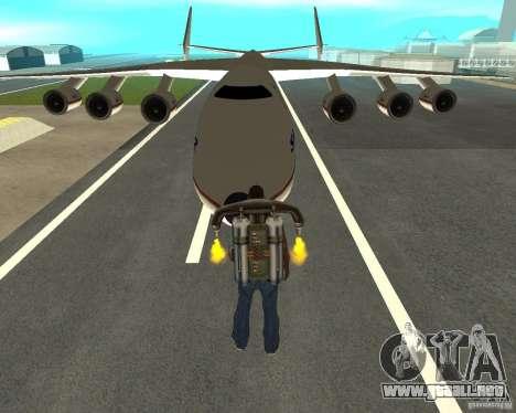 Antonov an-225 Mriya para GTA San Andreas vista hacia atrás