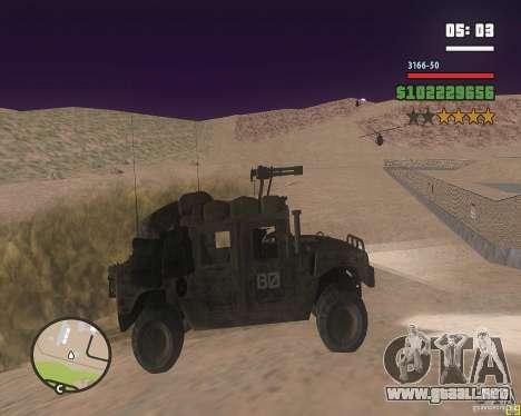 Hummer H1 de COD MW 2 para GTA San Andreas vista posterior izquierda