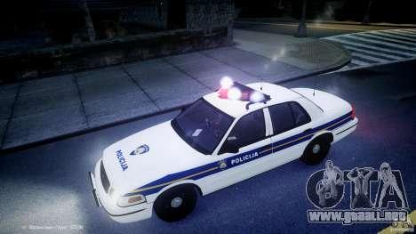 Ford Crown Victoria Croatian Police Unit para GTA 4 interior