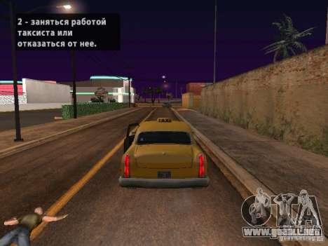 Salto de motocicleta en mi coche para GTA San Andreas sucesivamente de pantalla