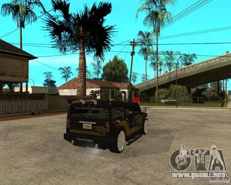 H2 HUMMER DUB LOWRIDE para GTA San Andreas vista posterior izquierda