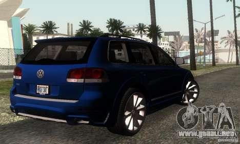 VolksWagen Touareg R50 JE Design Tuning para GTA San Andreas vista posterior izquierda